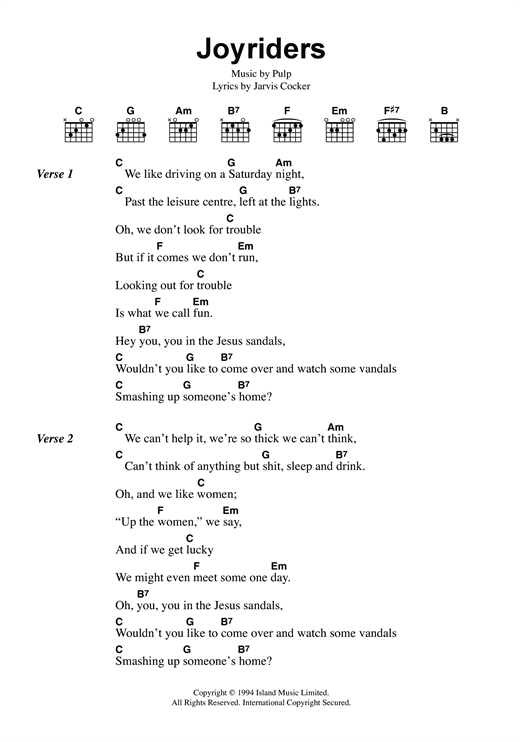 Joyriders sheet music by Pulp (Lyrics & Chords – 118483)