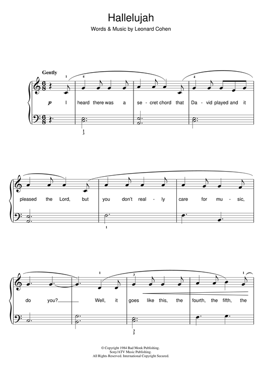 picture regarding Hallelujah Piano Sheet Music Free Printable known as Leonard Cohen: Hallelujah