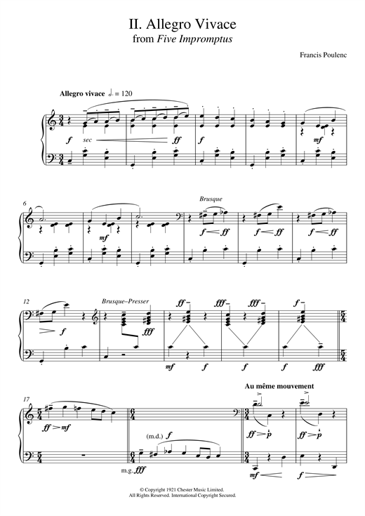 Allegro Vivace (From Five Impromptus) Sheet Music