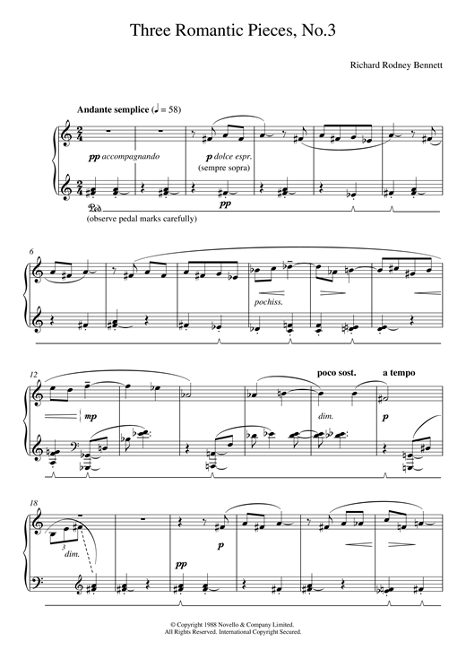 Three Romantic Pieces, No.3 Sheet Music