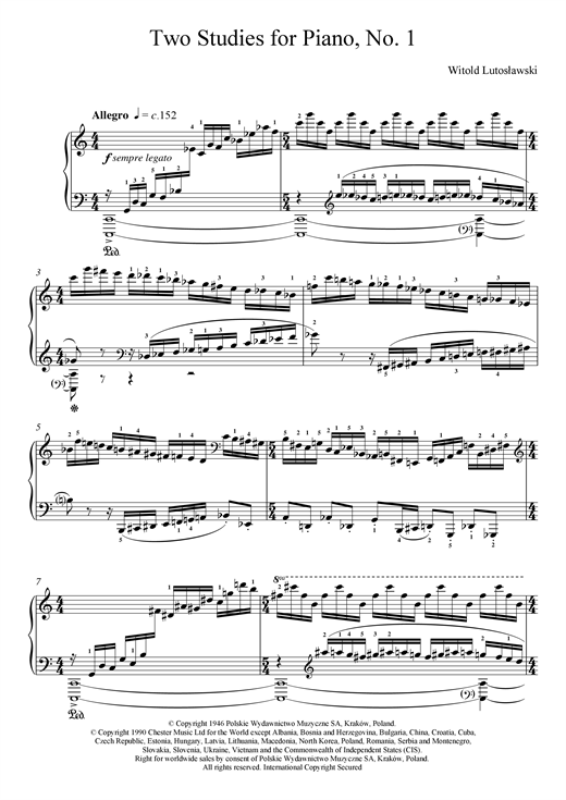 page one of Two Studies For Piano, 1. AllegroASALTTEXT