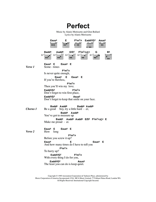Perfect sheet music by Alanis Morissette (Lyrics & Chords – 118540)