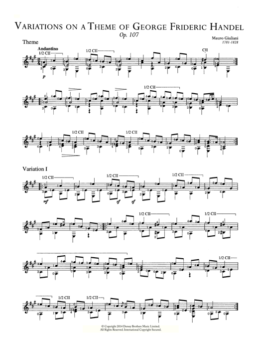 "Tablature guitare Variations On A Theme Of Handel (""The Harmonious Blacksmith""), Op. 107 de Mauro Giuliani - Guitare Classique"