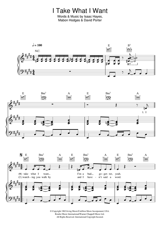 I Take What I Want Sheet Music