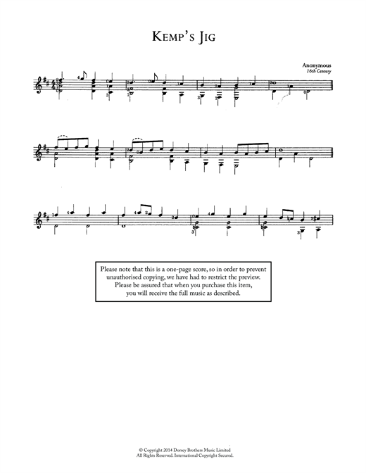 Kemp's Jig Sheet Music