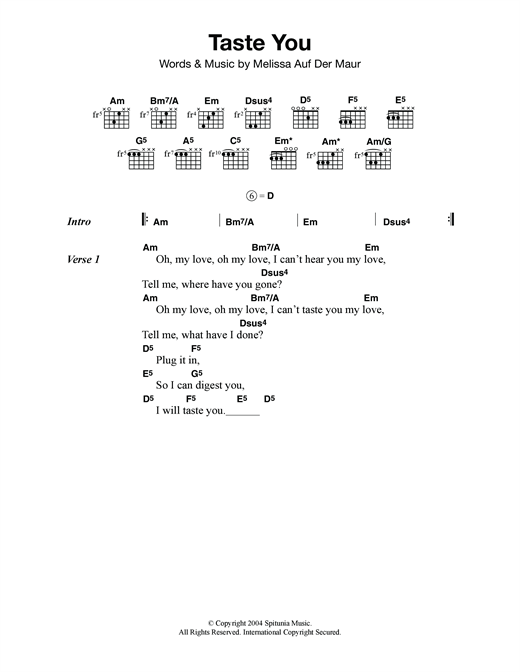 Taste You Sheet Music
