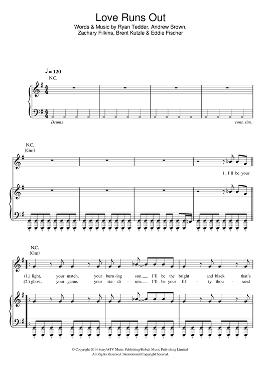 Love Runs Out Sheet Music