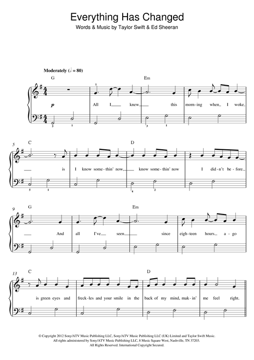 Everything Has Changed Sheet Music
