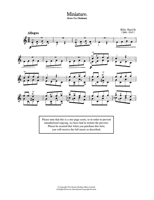 Miniature (from 'For Children') Sheet Music