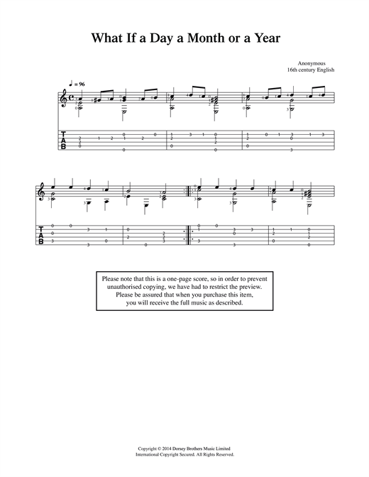 Tablature guitare What If A Day A Month Or A Year de Anonymous - Guitare Classique