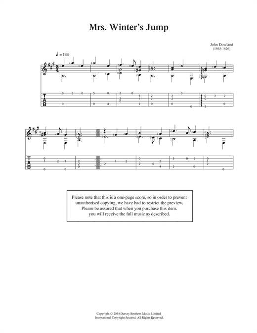 Tablature guitare Mrs Winter's Jump de John Dowland - Guitare Classique