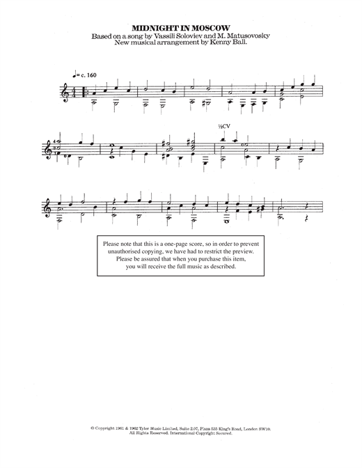 Midnight In Moscow Sheet Music