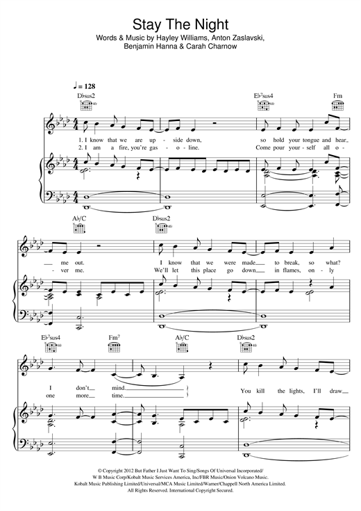 Stay The Night (feat. Hayley Williams) Sheet Music
