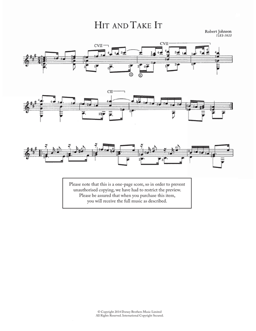 Tablature guitare Hit And Take It de Robert Johnson II - Guitare Classique