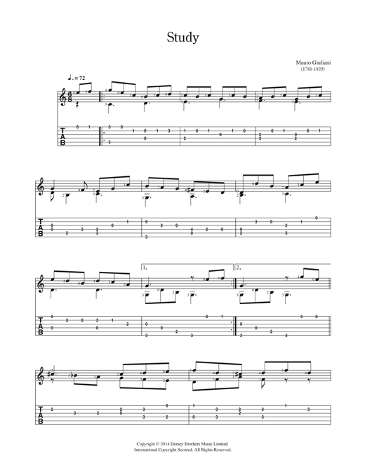 Tablature guitare Study de Mauro Giuliani - Guitare Classique