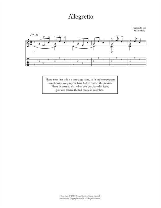 Allegretto Sheet Music