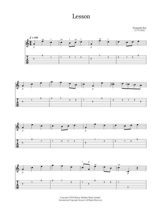Lesson Sheet Music