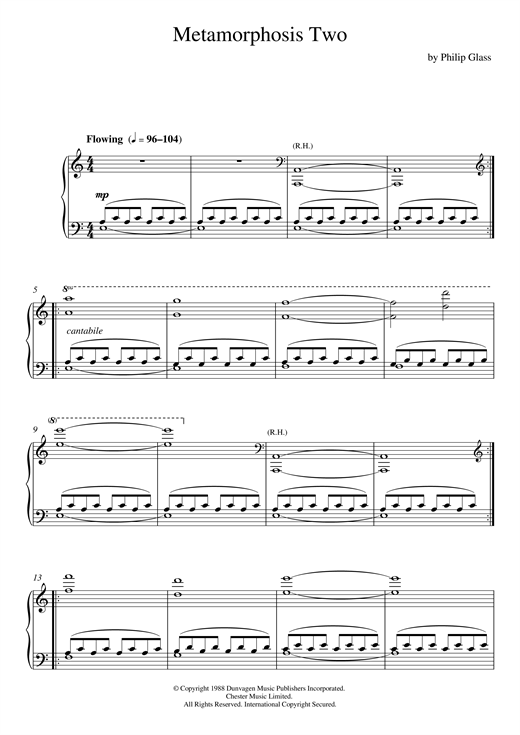 Partition piano Metamorphosis Two de Philip Glass - Piano Solo