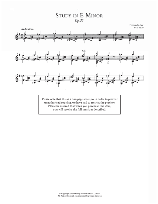 Study In E Minor, Op.35 Sheet Music