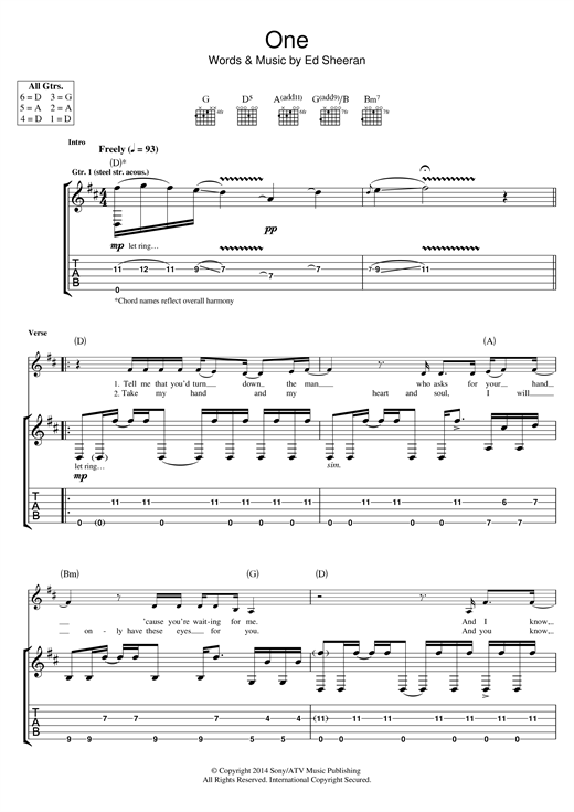 One Guitar Tab by Ed Sheeran (Guitar Tab u2013 118907)