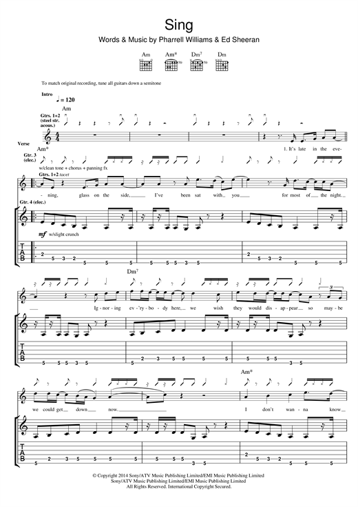 Sing Guitar Tab by Ed Sheeran (Guitar Tab – 118908)