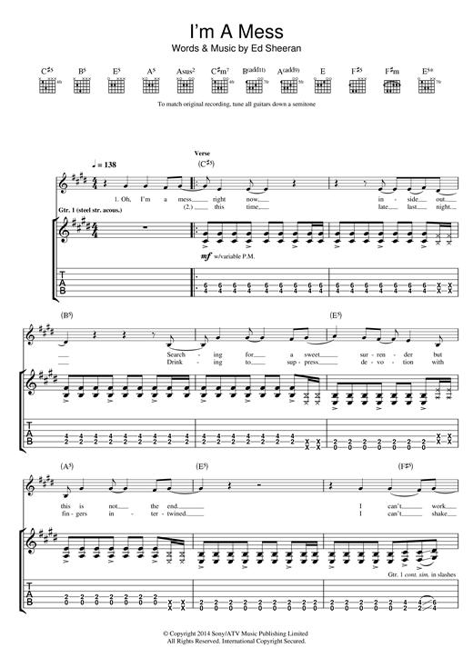 Tablature guitare I'm A Mess de Ed Sheeran - Tablature Guitare