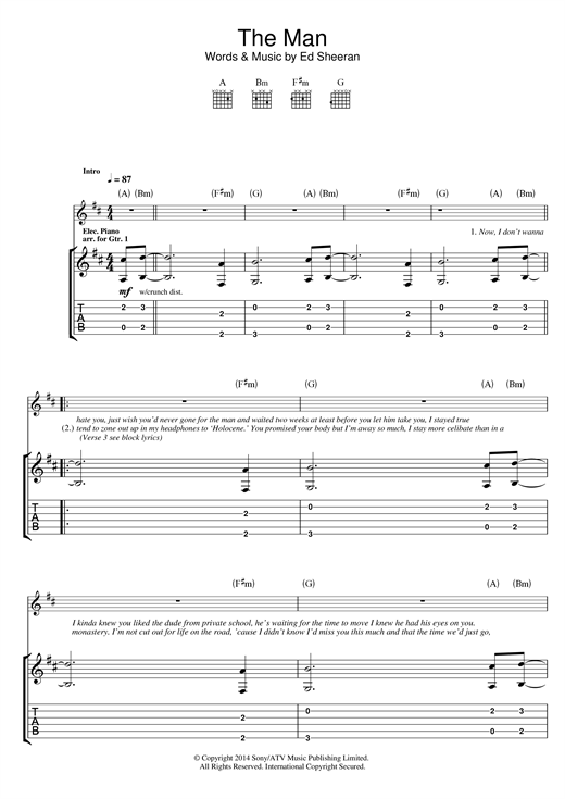 The Man Guitar Tab by Ed Sheeran (Guitar Tab – 118947)