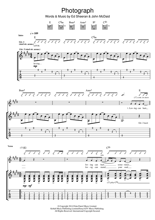 Photograph Guitar Tab Print Sheet Music Now