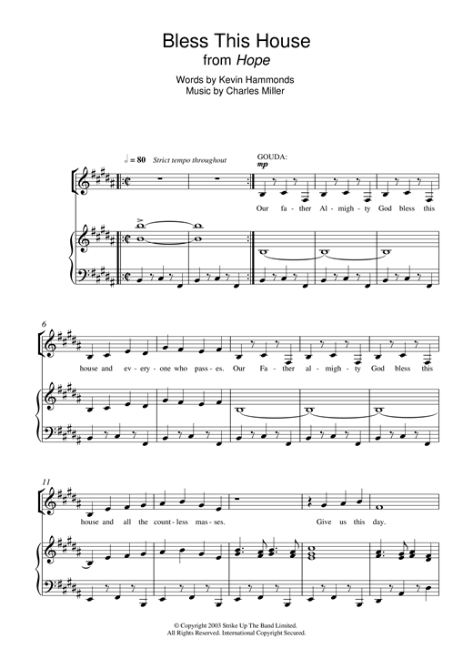 Bless this house from hope sheet music by charles miller for Piano house anthems