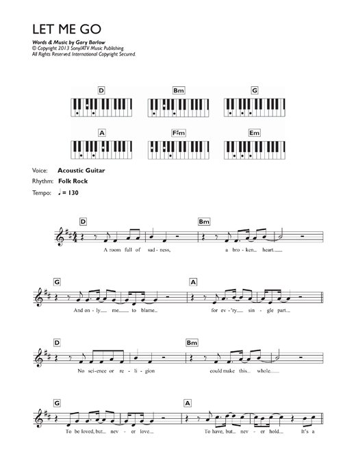 Partition piano Let Me Go de Gary Barlow - Synthétiseur