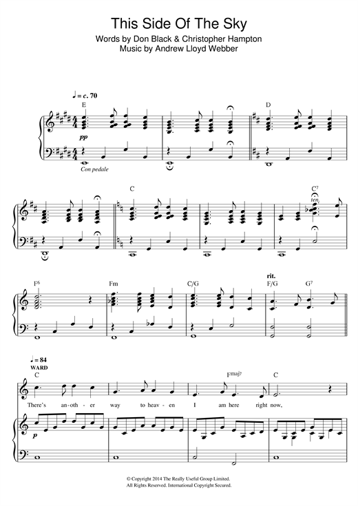 Partition piano This Side Of The Sky (from 'Stpehen Ward') de Andrew Lloyd Webber - Piano Voix