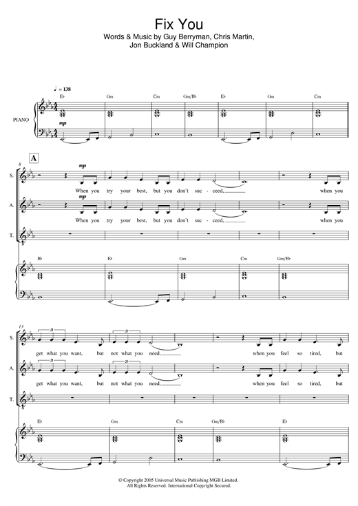 Fix You (arr. Mark De-Lisser) Sheet Music