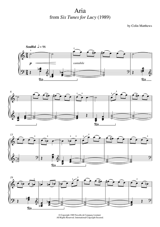 Aria (From Six Tunes For Lucy) Sheet Music