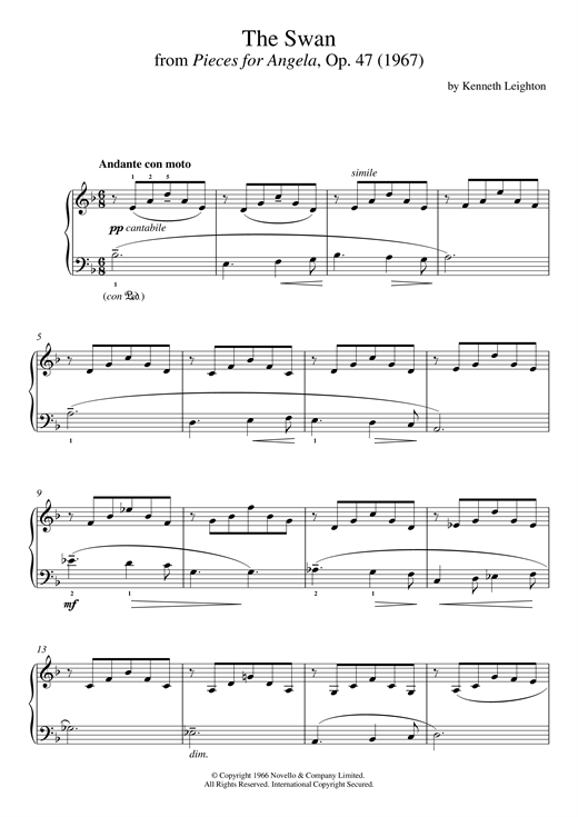 Partition piano The Swan (From Pieces For Angela) de Kenneth Leighton - Piano Solo