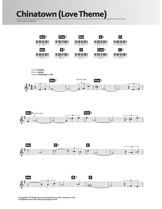 Chinatown (Love Theme/Jake And Evelyn) Sheet Music