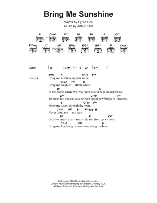 Bring Me Sunshine Sheet Music By Morecambe Wise Lyrics Chords