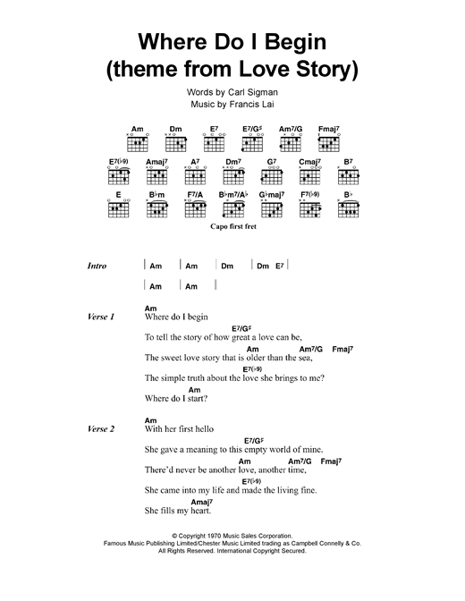 page one of Where Do I Begin (theme from Love Story)ASALTTEXT