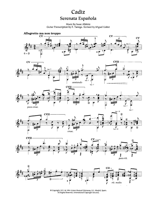 Cadiz Sheet Music
