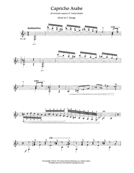 Tablature guitare Capricho Árabe de Francisco Tarrega - Guitare Classique