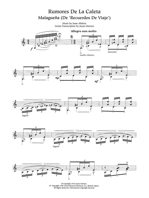 Rumores De La Caleta Sheet Music