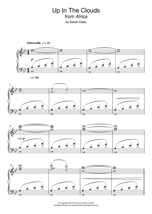 Partition piano Up In The Clouds de Sarah Class - Piano Solo