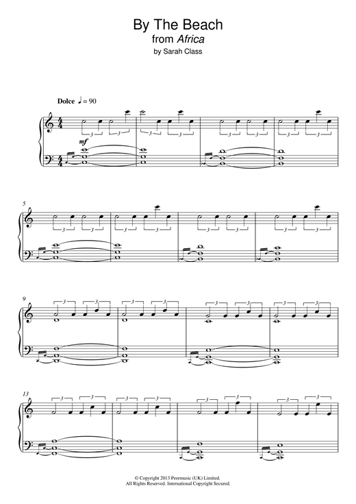 By The Beach (from 'Africa') Sheet Music