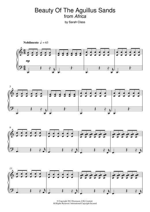 Beauty Of The Aguillus Sands (from 'Africa') Sheet Music