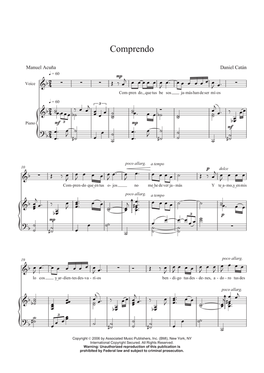 Comprendo Sheet Music