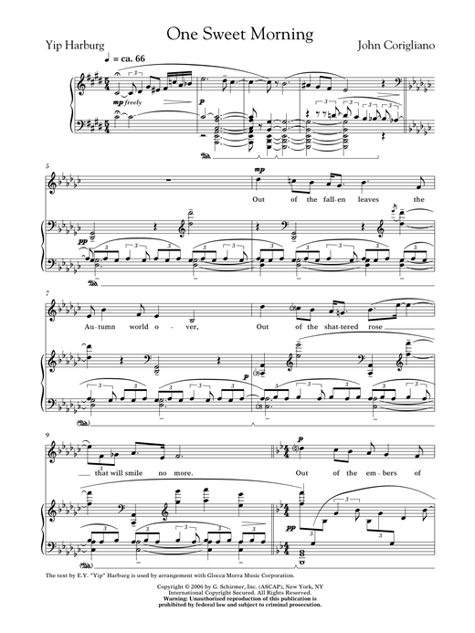 One Sweet Morning (female voice) Sheet Music