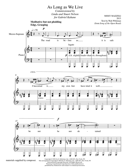 As Long As We Live (mezzo-soprano and piano) Sheet Music