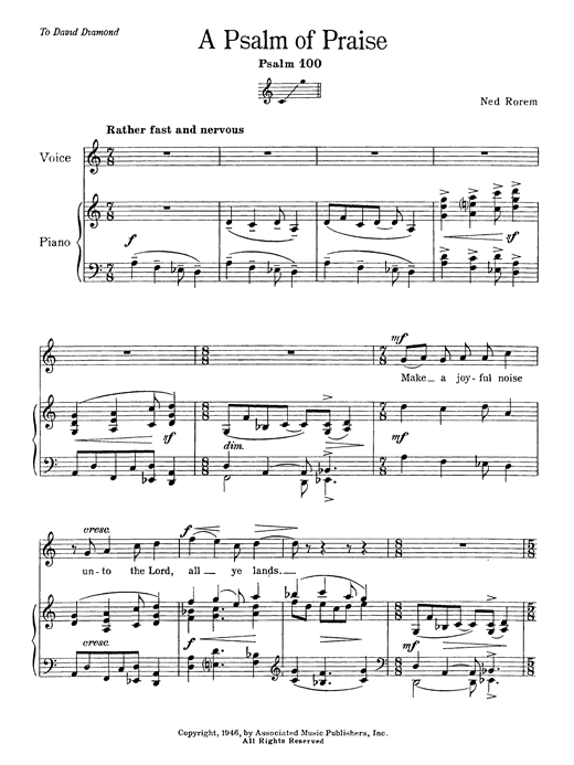 Partition autre Psalm Of Praise (Psalm 100) de Ned Rorem - Voix