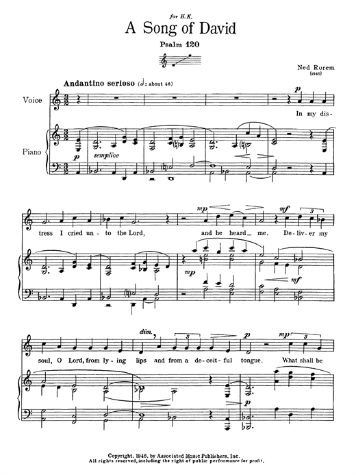 Song Of David (Psalm 120) Sheet Music