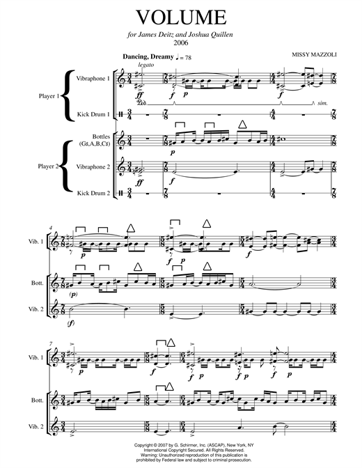 Volume (two-vibraphone version) Sheet Music