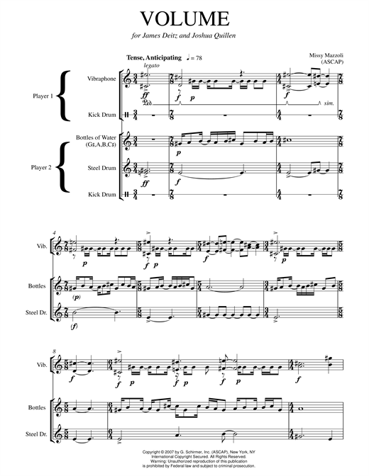 Volume (steel drum and vibraphone version) Sheet Music